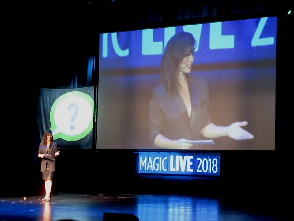 Jinger presenting at Magic LIVE 2018